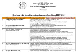 Návrhy na výber tém diplomovýchprác pre akademický rok 2014/2015
