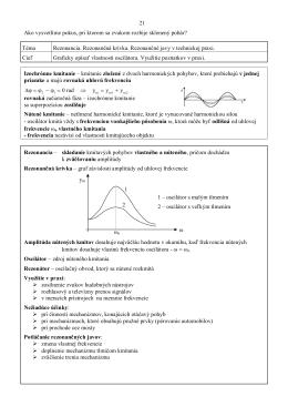 Téma Rezonancia. Rezonančná krivka. Rezonančné jav