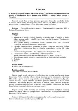 Z á z n a m - Krajský stavebný úrad v Trenčíne