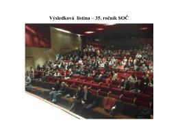 Výsledková listina – 35. ročník SOČ