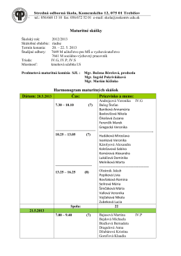 Harmonogram SJL - Stredná odborná škola Trebišov