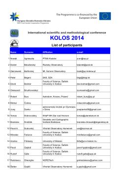 Zoznam účastníkov