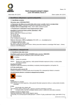 Karta bezpečnostných údajov - Color Company, Dubnica nad Váhom