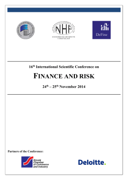 16th International Scientific Conference on FINANCE AND RISK