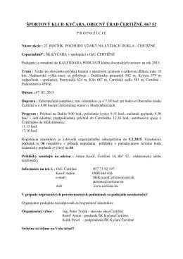 ŠPORTOVÝ KLUB KYČARA, OBECNÝ ÚRAD ČERTIŽNÉ, 067 52