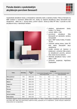 Stiahnúť Produktový list Vysokolesklé dosky s akrylátovým