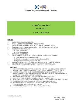 Výročná správa 2012 - Výskumný ústav geodézie a kartografie v