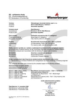 Vyhlásenie zhody Porotherm P+D Zlaté Moravce