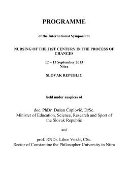 podrobný program medzinárodného sympózia