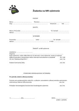 Žiadanka na MR vyšetrenie