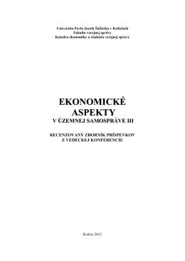 Obsah zborníka - ekonomické aspekty v územnej samospráve