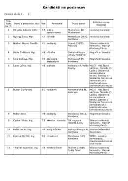 Kandidáti na poslancov
