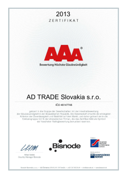 2013 AD TRADE Slovakia s.r.o.