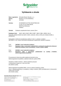 Vyhlásenie o zhode - Schneider Electric