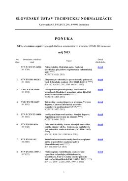 Ponuka noriem máj 2013 - Slovenský ústav technickej normalizácie