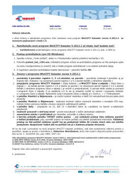 1. Nainštalujte nový program WinCITY Kataster V.2012.1 až