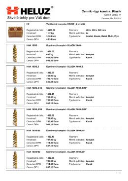 Cenník - typ komína: Klasik