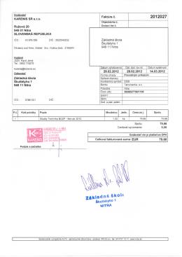 KARENIS SR sro Faktura c. 949 01 Nitra SLOVENSKA REPUBLIKA