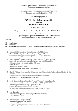 Program - Slovenská genekologicko