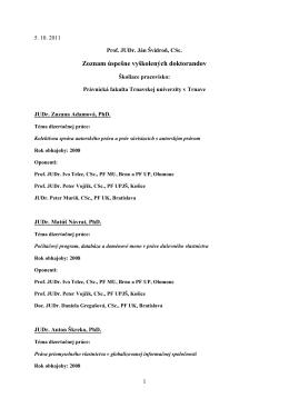 Zoznam uspesne vyskolenych doktorandov