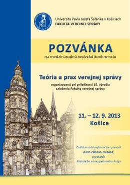 Pozvánka na konferenciu - Teória a prax verejnej správy