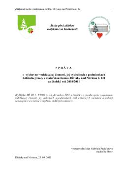 Základná škola s materskou školou Diviaky nad Nitricou, č