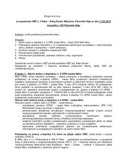 K bodu 1- Návrh zmien a doplnkov č. 5 ÚPN mesta Nitra