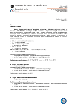 Výberové konanie - odborní asistenti na EkF