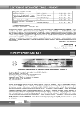Národný projekt NISPEZ II - ITlib - Centrum vedecko