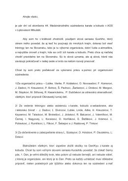 Správa senseia Klementisa k sústredeniu v LM 2014