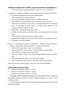 Kritéria pre určenie ADD - ADHD