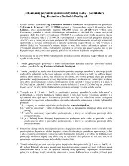 Reklamačný poriadok spoločnosti/fyzickej osoby