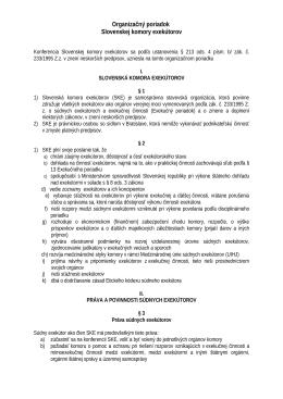 Organizačný poriadok - Slovenská komora exekútorov