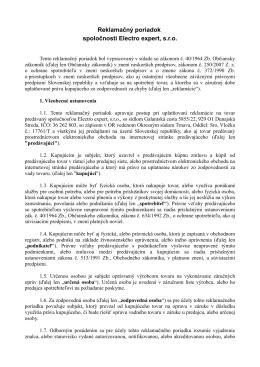 Reklamačný poriadok spoločnosti Electro expert