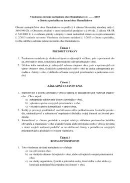 Všeobecne záväzné nariadenie obce Hamuliakovo č. ……/2015 o
