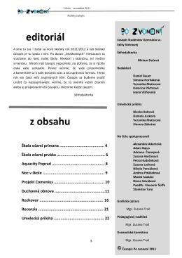 editoriál z obsahu - Gymnázium sv. Edity Steinovej Košice