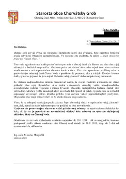 Otvorený list starostu obce bývalému starostovi