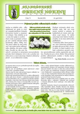 Obecné noviny č. 73 – apríl 2014