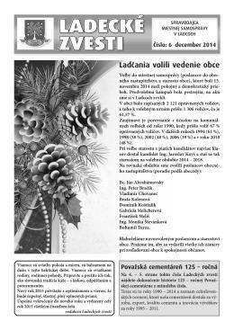 December 2014 - Aktuality obce Ladce