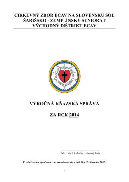 kňazská správa za r. 2014