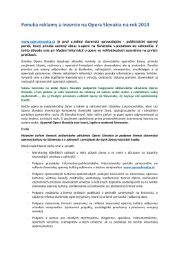 Ponuka reklamy a inzercie na Opera Slovakia na rok 2014