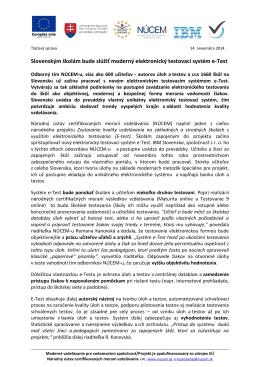 Slovenským školám bude slúžiť moderný elektronický
