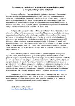 Štrbské Pleso bude hostiť Majstrovstvá Slovenskej republiky