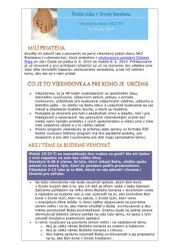 Kompletná informácia o víkendovke NKZ BA v júni