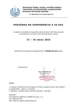 POZVÁNKA NA KONFERENCIU A VZ SUZ 17. – 19. marca 2015