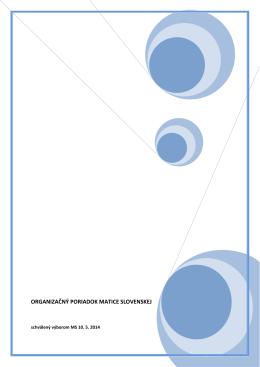 Organizačný poriadok – platný od 10.05.2014