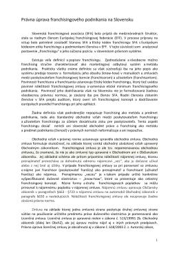 Novinka_Právna úprava franchisingového podnikania na