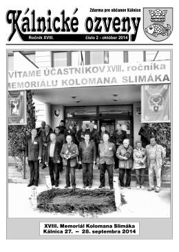 XVIII. Memoriál Kolomana Slimáka Kálnica 27. -
