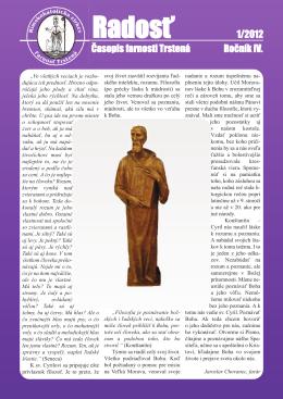 Farský časopis Radosť 1/2012