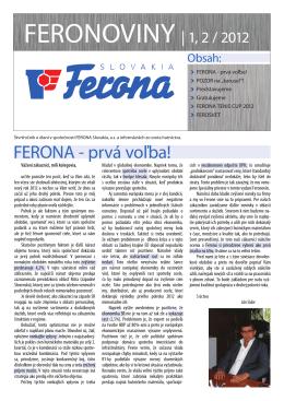 FERONA - prvá voľba! - FERONA Slovakia, as